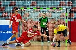 Matevz Marincek of Slovan vs Janez Gams of Gorenje during handball match between RD Slovan and RK Gorenje Velenje in Round #10 of 1. NLB Leasing liga 2015/16, on November 13, 2015 in Arena Kodeljevo, Ljubljana, Slovenia. Photo by Vid Ponikvar / Sportida