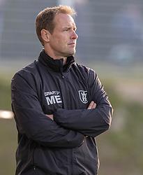 Cheftræner Morten Eskesen (FC Helsingør) under kampen i 1. Division mellem FC Helsingør og Skive IK den 18. oktober 2020 på Helsingør Stadion (Foto: Claus Birch).