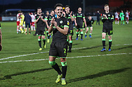 Forest Green Rovers Liam Shephard(2) applauds the fans at the end of the match during the EFL Sky Bet League 2 match between Stevenage and Forest Green Rovers at the Lamex Stadium, Stevenage, England on 26 January 2019.