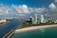 South Pointe Park, Miami Beach and Government Cut from the east from the air.