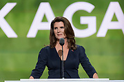Actress Kimberlin Brown addresses delegates on the second day of the Republican National Convention July 19, 2016 in Cleveland, Ohio. The delegates formally nominated Donald J. Trump for president after a state by state roll call.