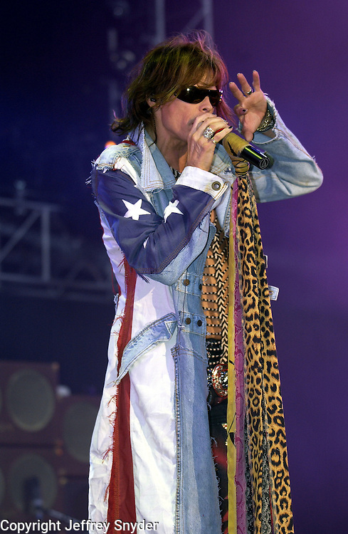 Steven Tyler of Aerosmith performing on United We Stand: What More Can I Give? Concert. A music benefit in support of the recovery efforts from the September 11 attack on America.  The proceeds will go to various Relief Funds. October 21, 2001 (Jeffrey Snyder)