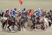 Team kok boru being played at a traditional Kyrgyz horse games festival. Bosogo jailoo, Naryn province, Kyrgyzstan.