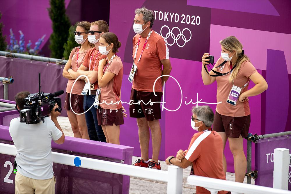Team Switzerland, Bodenmuller Eveline, Godel Robin, Johner Mélody, Burger Dominik, Weber Claudia<br /> Olympic Games Tokyo 2021<br /> © Hippo Foto - Dirk Caremans<br /> 30/07/2021