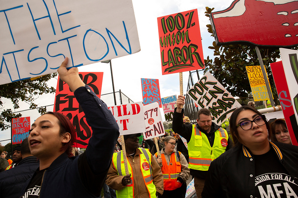 """A rally in favor of a housing proposal often referred by critics as the """"Monster in the Mission,"""" on Thursday, Feb. 7, 2019, in San Francisco, Calif. A community meeting was held at Mission High School to hear public reaction on the housing project for 1979 Mission Street."""