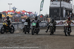 Brittney Olsen of Carl's Cycle, Scott Jones of Noise Cycles, Go Takamine of Brat Style with other in the Brat Styles Go Takamine in the Born Free Tank Shift class racing at the RSD Moto Beach Classic. Huntington Beach, CA, USA. Sunday October 28, 2018. Photography ©2018 Michael Lichter.