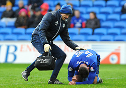Gary Madine of Cardiff City picks up an injury- Mandatory by-line: Nizaam Jones/JMP- 30/03/2018 -  FOOTBALL -  Cardiff City Stadium- Cardiff, Wales -  Cardiff City v Burton Albion - Sky Bet Championship