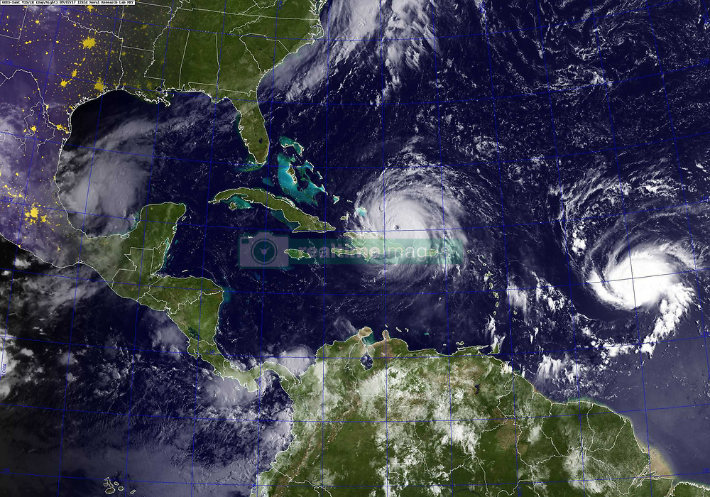 ATLANTIC OCEAN (Sept. 7, 2017) A GOES satellite image taken Sept. 7, 2017 at 8:45 a.m. EST shows Hurricane Irma, center, and Hurricane Jose, right, in the Atlantic Ocean, and Hurricane Katia in the Gulf of Mexico. Hurricane Irma is a category 5 hurricane with sustained winds of more than 180 mph and is moving west-northwest at 17 mph. the storm is expected to impact the southeastern United States. (U.S. Navy photo/Released)