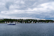 View of the Mackinac Island Harbor from a boat on Lake Huron; Michigan, USA.
