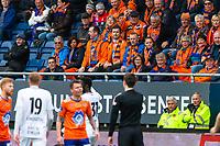 1. divisjon fotball 2018: Aalesund - Mjøndalen. Misfornøyd supporter etter en dommeravgjørelse i førstedivisjonskampen i fotball mellom Aalesund og Mjøndalen på Color Line Stadion.