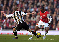 Photo: Olly Greenwood.<br />Arsenal v Newcastle United. The Barclays Premiership. 18/11/2006. Arsenal's Julio Baptista and Newcastle's Nicky Butt