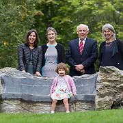 29.08. 2017.                                                   <br /> A new scholarship, the Roibeárd Thornton Memorial-Janssen Scholarship, was launched at the University of Limerick, named in memory of Dr Roibeárd Thornton, a graduate of the University. Dr Thornton, who had been working with Janssen Pharmaceuticals in Cork for over 4 years, had just returned to Limerick with his family when he was tragically killed in a car crash in January 2016.<br /> <br /> Pictured at the event were Dr Roibeárd Thornton's family, Niamh (widow), Sadhbh, (daughter),Jody (mother) and Sean Thornton (father) with Dr. Jakki Cooney, Dept. Biological Sciences UL (right).<br /> <br /> <br /> A special seat using rock from the family land of Dr Roibeárd Thornton, was commissioned by his UL science family and brought to campus as a permanent reminder of his gentle soul. It is positioned close to Plassey House overlooking a grass valley with the River Shannon in view. Picture: Alan Place<br /> <br /> <br /> For more information, contact:<br /> Sarah Hartnett, University of Limerick Foundation Tel: 086-3872863; Email: sarah.hartnett@ul.ie