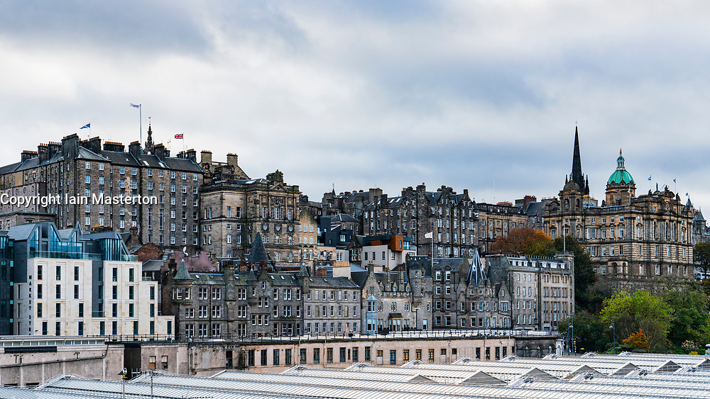 Skyline view of Edinburgh towards the Old Town, The Mound in Scotland UK.