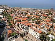 Israel, Tel Aviv, Aerial view of Neve Tzedek established 1887 and was the first Jewish settlement outside of Jaffa. In 1909 Neve Tzedek neighbourhood was incorporated into Tel Aviv. Jaffa in the far left April 2008