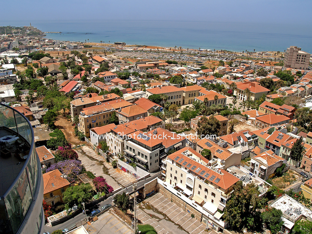 Israel, Tel Aviv, Aerial view of Neve Tzedek established 1887 and was the first Jewish settlement outside of Jaffa. In 1909 Neve Tzedek neighbourhood was incorporated into Tel Aviv. Jaffa in the far left April 2008
