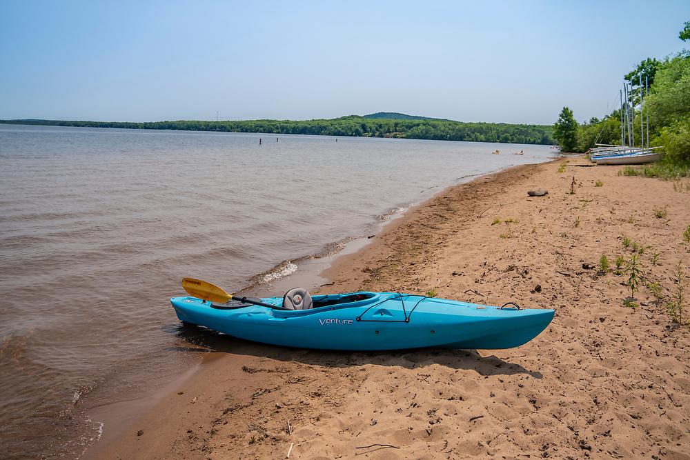 The Lake Independence waterfront at Perkins Park in Big Bay, Michigan.