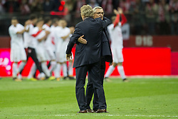 October 8, 2017 - Warsaw, Poland - President of Polish Football Association Zbigniew Boniek and Polish Coach Adam Nawalka celebrates during the FIFA World Cup 2018 Qualifying Round Group E match between Poland and Montenegro at National Stadium in Warsaw, Poland on October 8, 2017  (Credit Image: © Andrew Surma/NurPhoto via ZUMA Press)