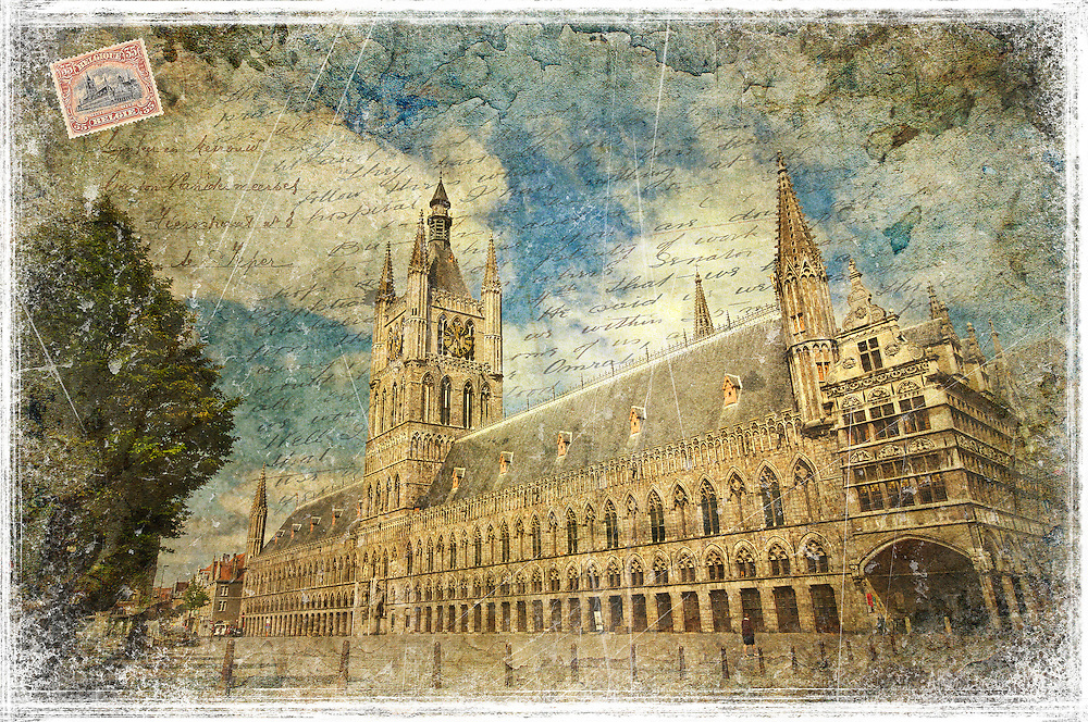 The Cloth Hall (or Lakenhal in Dutch) in Ypres Belgium was a warehouse for the prosperous cloth industry during the Middle Ages. These days, it is the home of the In Flanders Fields WWI Museum.<br />
