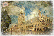 The Cloth Hall (or Lakenhal in Dutch) in Ypres Belgium was a warehouse for the prosperous cloth industry during the Middle Ages. These days, it is the home of the In Flanders Fields WWI Museum.<br /> <br /> I decided to create a Forgotten Postcard of this building because many of the real postcards of Ypres past reflect the devastation of WWI. I wanted to focus on the beauty of the architecture and the new-found vibrance and resilience of this lovely Flemish city