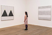 Untitled #1 2003 and Untitled 2004 (her last painting) - Tate Modern opens major retrospective of American painter Agnes Martin. The exhibition covers the full breadth of her practice from early experimental works with found objects to her late evocative paintings, reasserting her position as a key figure in the traditionally male-dominated field of American abstraction. Highlights include: Martin's important early work Friendship 1963, a gold leaf covered canvas incised with Martin's emblematic fine grid;The artist's group of white paintings The Islands I – XII 1979; and a selection of Martin's large-scale late square paintings rarely seen together including the artist's last work before her death in 2004