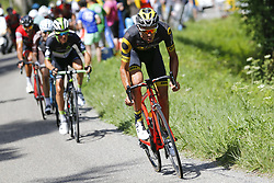 July 8, 2017 - Station Des Rousses, FRANCE - Belgian Serge Pauwels of Dimension Data and French Lilian Calmejane of Direct Energie pictured in action during the eighth stage of the 104th edition of the Tour de France cycling race, 187,5km from Dole to Station des Rousses, France, Saturday 08 July 2017. This year's Tour de France takes place from July first to July 23rd. BELGA PHOTO DIRK WAEM (Credit Image: © Dirk Waem/Belga via ZUMA Press)