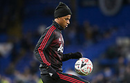 Manchester United Forward Marcus Rashford controls the ball in warm up during the The FA Cup 5th round match between Chelsea and Manchester United at Stamford Bridge, London, England on 18 February 2019.