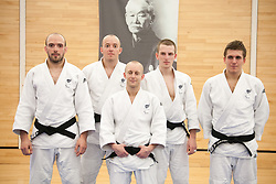 © London News Pictures. 23/08/2012. Dartford, Kent. Judo paralympians L to R - Sam Ingram, Joe Ingram, Ben Quilter, Marc Powell and Dan Powell photocall. Britain's leading judokas from ParalympicsGB in training at their national base in Dartford, Kent before competing in London2012.Picture credit should read Manu Palomeque/LNP