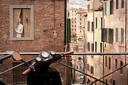 Street scene in Siena, Tuscany, Italy. Full color version available upon request.
