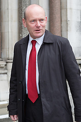 © Licensed to London News Pictures. 23/04/2015. London, UK. Lutfur Rahman's election rival, John Biggs arrives at the Royal Courts of Justice, High Court in London for the ruling of the Tower Hamlets election petition trial. The election petition, brought by four residents, which is led by Andrew Erlam against Lutfur Rahman seeks a re-run of last May's mayoral election in the east London borough of Tower Hamlets.. Photo credit : Vickie Flores/LNP
