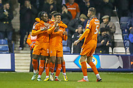 Goal!…Luton Town defender James Justin (2) scores the first goal and celebrates with his team mates during the EFL Sky Bet League 1 match between Luton Town and Bradford City at Kenilworth Road, Luton, England on 27 November 2018.