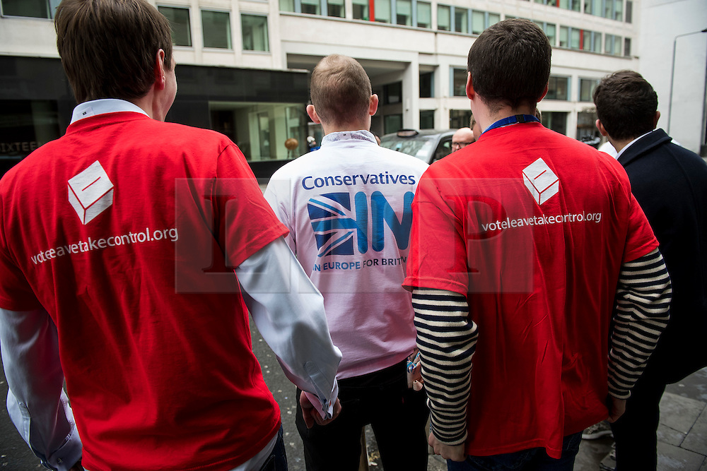 © Licensed to London News Pictures. 09/04/2016. London, UK.  Pro and anti EU campaigners compete for attention outside the Conservative Party Spring Forum which is being held at the Grand Connaught Rooms in central London.  Conservative party leader and British prime minster David Cameron has come under pressure after it was revealed that he had  investment in an offshore fund.  Photo credit: Ben Cawthra/LNP