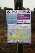 Sign for Open Access Land, Suffolk Coast and Heaths AONB, Sutton Heath, Suffolk, England