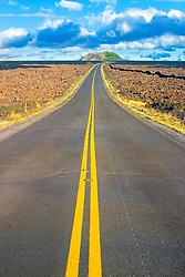 Saddle Road and Pu`u Huluhulu, an old cinder cone created by Mauna Kea long time ago, Mauna Kea, Big Island, Hawaii, USA