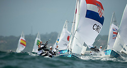 03.08.2012, Bucht von Weymouth, GBR, Olympia 2012, Segeln, im Bild Nincevic Enia, (CRO, 470 Women) // during Sailing, at the 2012 Summer Olympics at Bay of Weymouth, United Kingdom on 2012/08/03. EXPA Pictures © 2012, PhotoCredit: EXPA/ Juerg Kaufmann ***** ATTENTION for AUT, CRO, GER, FIN, NOR, NED, POL, SLO and SWE ONLY!