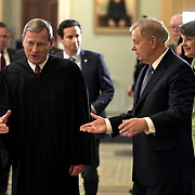 Supreme Court Chief Justice John Roberts leaves after the day's proceedings in the impeachment trial against President Trump on Wednesday, February 5, 2020.