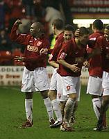 Photo: Mark Stephenson.<br />Walsall v Bristol Rovers. Coca Cola League 2. 30/12/2006.<br />Wallsall's Hector Sam scores.