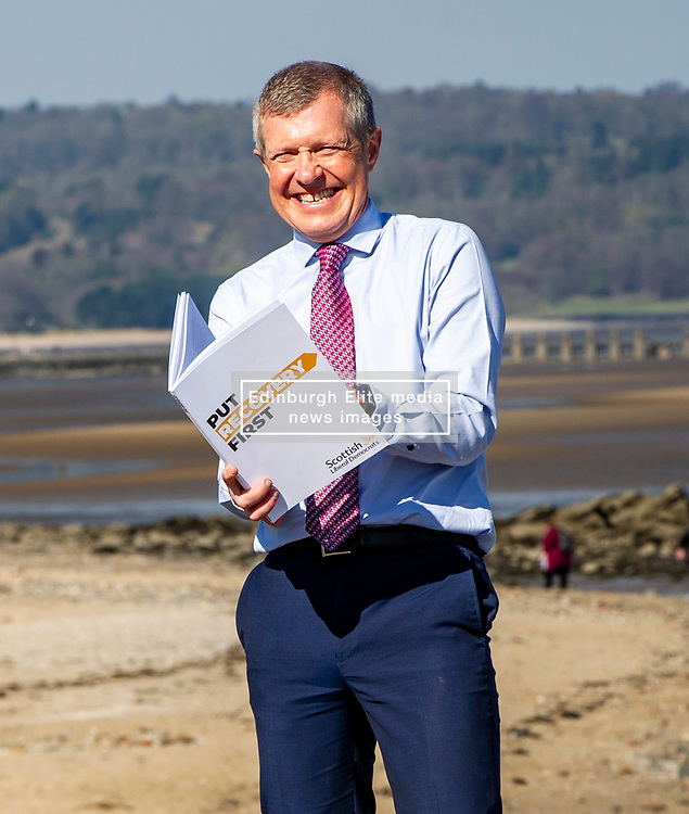 Pictured: <br />Scottish Liberal Democrat Leader Willie Rennie launched his party's manifesto today during a vist to the Broadwalk Cafe in Edinburgh today.<br />Ger Harley   EEm 16 April 2021