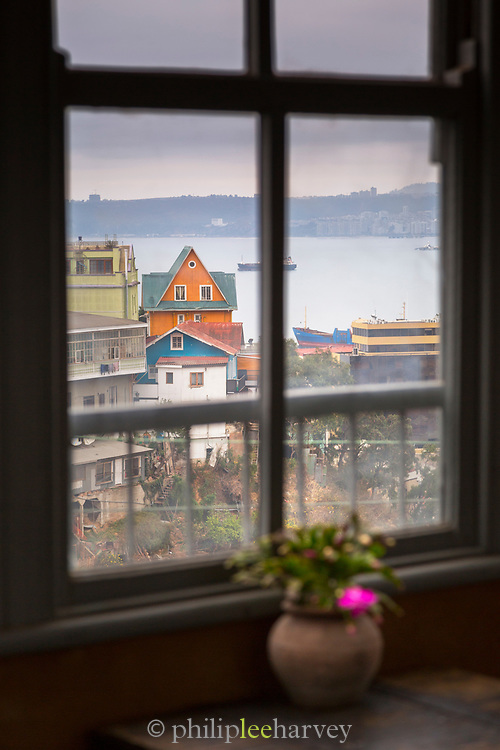 View of Valparaiso through window in Chile
