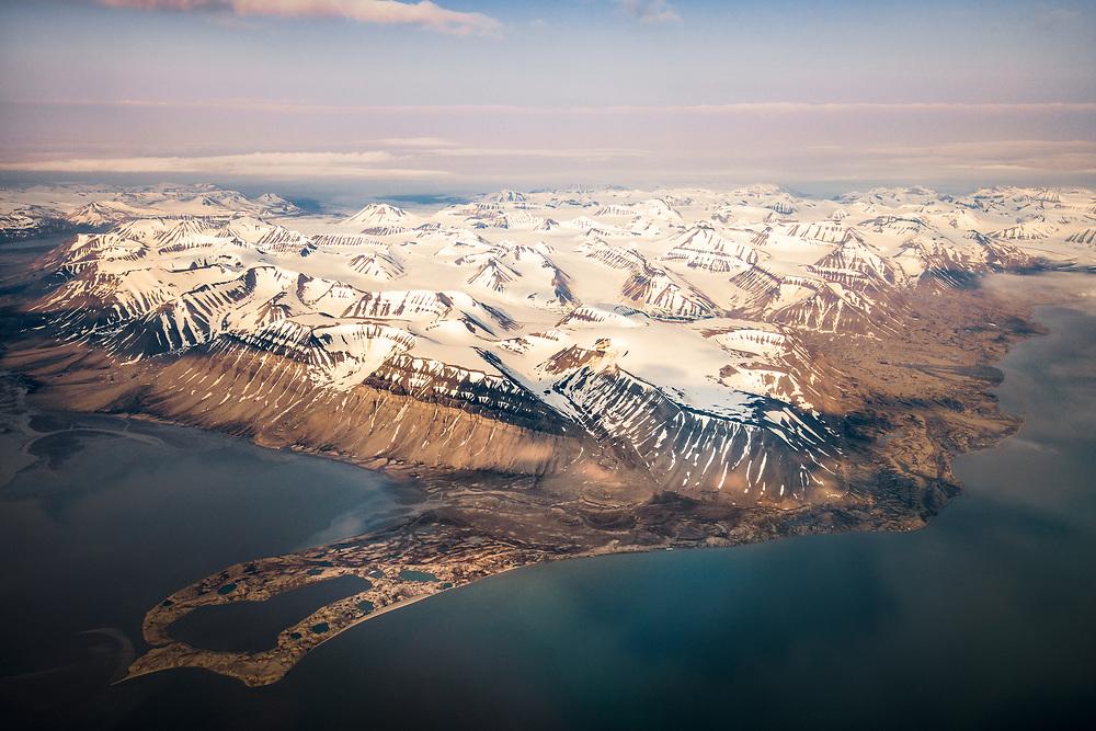 Aerial view over Sassen-Bünsow Land National Park, Spitsbergen