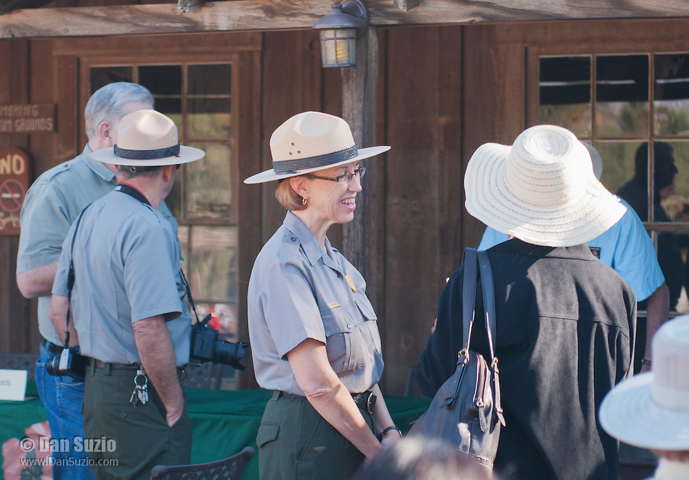 Superintendent Sarah Craighead meets park visitors during the Grand Re-Opening of the Furnace Creek Visitor Center in Death Valley National Park, California, on November 4, 2012.