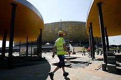 """31.05.2011, Danzig, POL, Euro 2012, PGE Arena Gdansk, Baufortschritt, im Bild Die Bauarbeiten begannen am 15. Dezember 2008, die Fertigstellung ist für 2011 geplant. Am 24. Juli 2010 fand das Richtfest statt. Die Durchführung des Stadionbaus übernimmt das Architekturbüro RKW Rhode Kellermann Wawrowsky aus Düsseldorf. Das Namensrecht erwarb das polnische Energieversorgungsunternehmen Polska Grupa Energetyczna S.A. PGE für ca. 35 Mio. Zloty bis Ende 2014. Vorher trug das Stadionprojekt den Namen ,,Baltic Arena"""" dt. ,,Ostsee-Arena"""". Der fertige Stadionbau hat eine Länge von 236 Meter bei einer Breite von 203 Meter und 45 Meter Höhe. Das neue Stadion wird überwiegend von dem Fußballverein Lechia Gdansk genutzt werden und bietet in Zukunft Plätze für rund 44.000 Zuschauer, EXPA Pictures © 2011, PhotoCredit: EXPA/ Newspix/ WOJCIECH FIGURSKI +++++ ATTENTION - FOR AUSTRIA/ AUT, SLOVENIA/ SLO, SERBIA/ SRB an CROATIA/ CRO, SWISS/ SUI and SWEDEN/ SWE CLIENT ONLY +++++"""