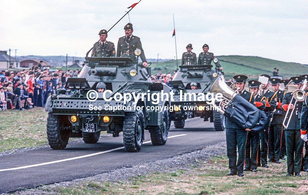 Irish Army, 28 Infantry Battalion Open Day at Finner Camp, Bundoran, Co Donegal, Rep of Ireland. 197809010234FC1.<br /> <br /> Copyright Image from Victor Patterson, Belfast, UK<br /> <br /> t: +44 28 9066 1296 (from Rep of Ireland 048 9066 1296)<br /> m: +44 7802 353836<br /> e: victorpattersonbelfast@gmail.com<br /> <br /> www.images4media.com<br /> <br /> Please see my full Terms and Conditions of Use at https://www.images4media.com/p/terms-conditions - it is IMPORTANT that you familiarise yourself with them.<br /> <br /> Images used online incur an additional cost. This cost should be agreed in writing in advance. Online images must be visibly watermarked i.e. © Victor Patterson or that of the named photographer within the body of the image. The original metadata must not be deleted from images used online.<br /> <br /> This image is only available for the use of the download recipient i.e. television station, newspaper, magazine, book publisher, etc, and must not be passed on to a third party. It is also downloaded on condition that each and every usage is notified within 7 days to victorpattersonbelfast@gmail.com.<br /> <br /> The right of Victor Patterson (or the named photographer) to be identified as the author is asserted in accordance with The Copyright Designs And Patents Act (1988). All moral rights are asserted.