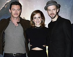 (left to right) Luke Evans, Emma Watson, and Dan Stevens during a photo call with the cast of Beauty and the Beast, at The Corinthia Hotel, London.