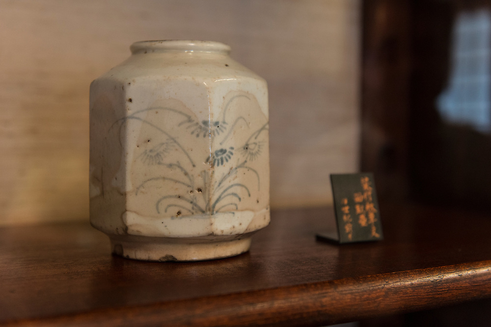 """A Korean """"hakuji sometsuke"""" jar, Japan Folk Crafts Museum (Mingeikan), Tokyo, Japan, September 9, 2012. The museum was founded in 1936 by Soetsu Yanagi (1889-1961). It is dedicated to promoting the Mingei folk crafts movement and showing items from all over Japan. A contemporary and friend of Bernard Leach, Yanagi believed in the high aesthetic value of everyday items made by anonymous craftsmen working in set traditions."""
