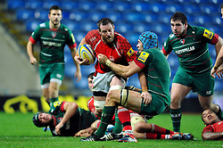 Dean Schofield of London Welsh is tackled by Graham Kitchener of Leicester Tigers  - Photo mandatory by-line: Patrick Khachfe/JMP - Mobile: 07966 386802 23/11/2014 - SPORT - RUGBY UNION - Oxford - Kassam Stadium - London Welsh v Leicester Tigers - Aviva Premiership
