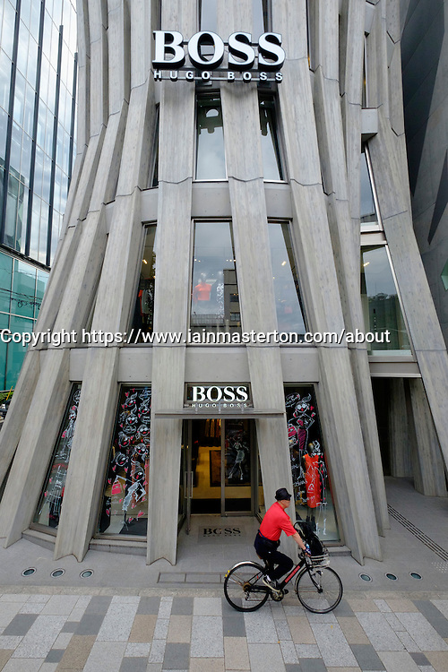 Exterior of modern architecture of Hugo Boss store in Omotesando shopping district in Tokyo Japan