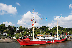 Historic lightship Elbe 3 ship moored at Maritime museum at Ovelgonne on River Elbe in Hamburg Germany