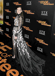 November 9, 2016 - Los Angeles, California, United States - November 9th 2016 - Los Angeles California USA -  Actress HAILEE STEINFELD at  STX Entertainment's LA Special Screening of ''The Edge of Seventeen''   held at the Regal LA Live Theater,  Los Angeles, CA (Credit Image: © Paul Fenton via ZUMA Wire)