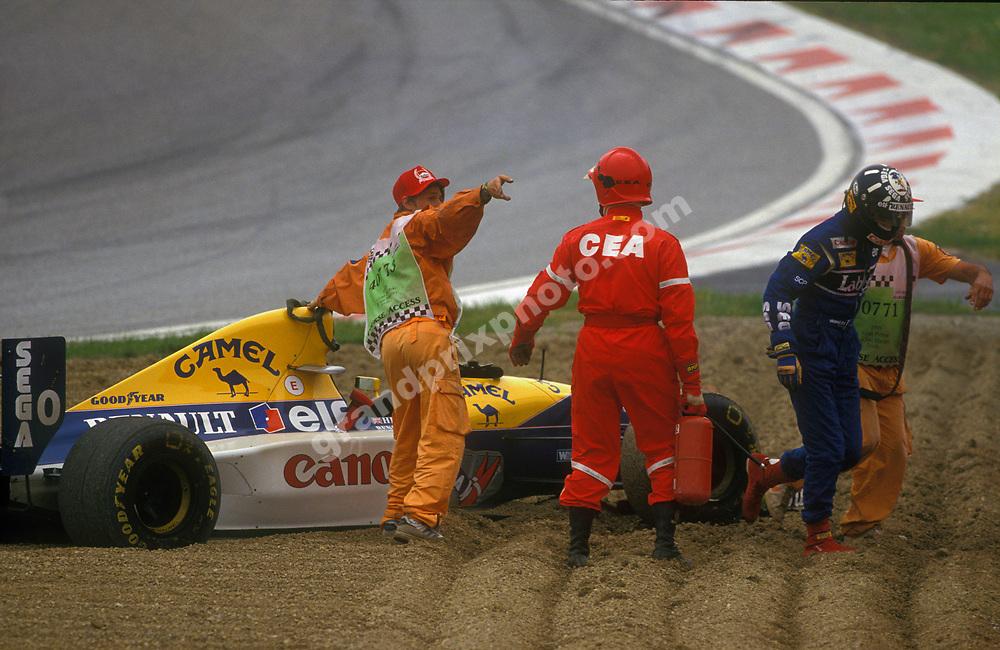 Damon Hill (Williams-Renault) spun out of the 1993 San Marino Grand Prix at Imola. Photo: Grand Prix Photo