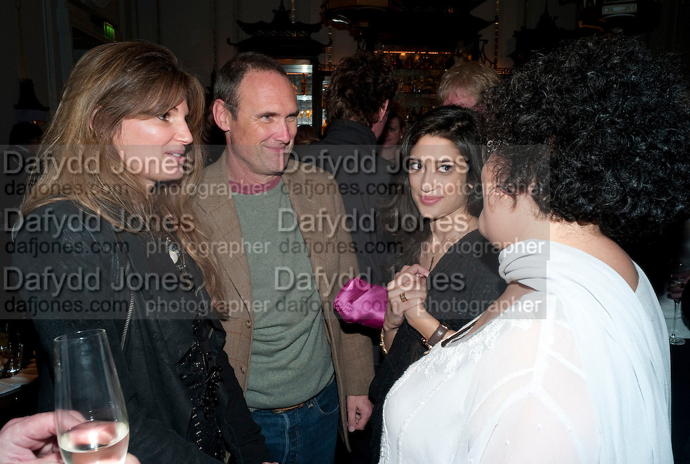 JEMIMA KHAN; FATIMA BHUTTO; A.A. GILL; GHINWA BHUTTO, Henry Porter hosts a launch for Songs of Blood and Sword by Fatima Bhutto. The Artesian at the Langham London. Portland Place. 15 April 2010. *** Local Caption *** -DO NOT ARCHIVE-© Copyright Photograph by Dafydd Jones. 248 Clapham Rd. London SW9 0PZ. Tel 0207 820 0771. www.dafjones.com.<br /> JEMIMA KHAN; FATIMA BHUTTO; A.A. GILL; GHINWA BHUTTO, Henry Porter hosts a launch for Songs of Blood and Sword by Fatima Bhutto. The Artesian at the Langham London. Portland Place. 15 April 2010.